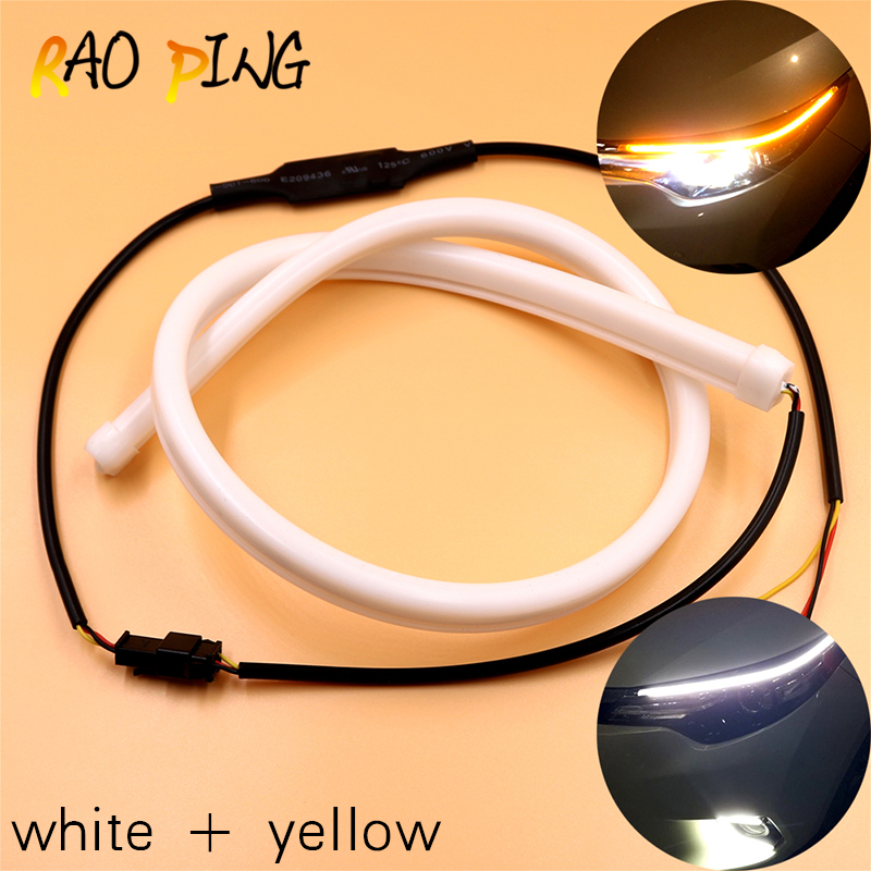 Raoping 1set Car Led DRL Daytime Running Light Guide Light Strips Soft Tube Strip Single Dual Color Turn Signal Light Universial цена