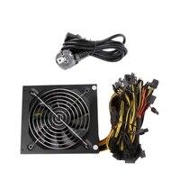 EU Plug 1600W ATX Power Supply 14cm Fan Set For Eth Rig Ethereum Coin Miner