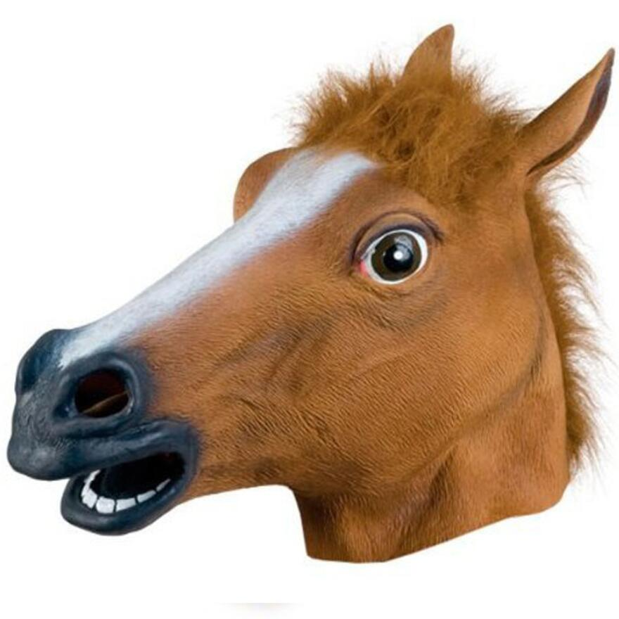Creepy Horse Animal's Head Latex Mask Halloween Costume Theater Prank Prop Crazy Party Mask