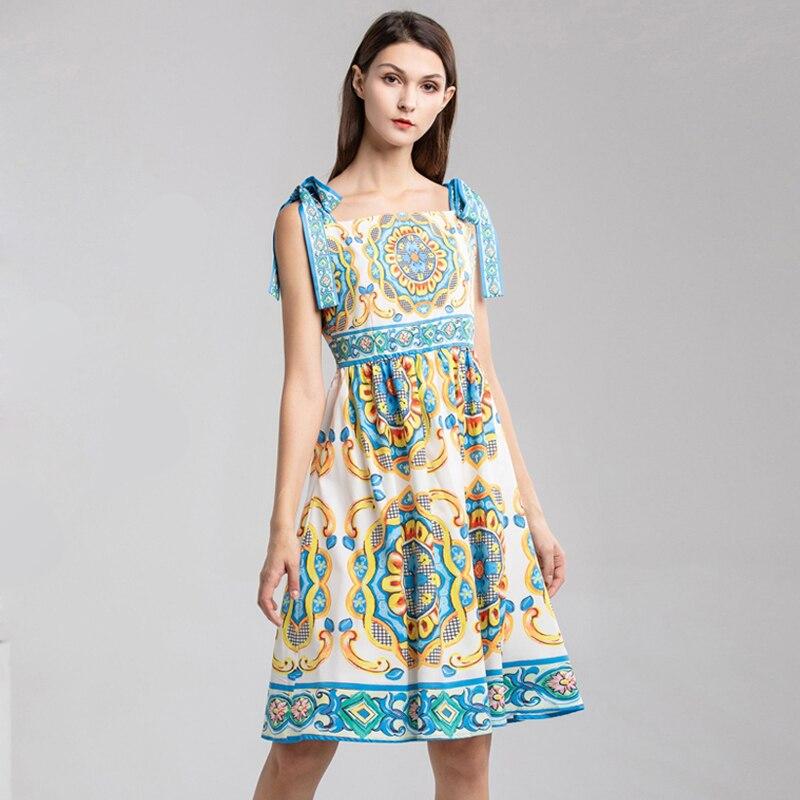 Red RoosaRosee New 2019 Quality Designer Women Dresses Porcelain Print Summer Vestidos Robe Femme Ladies Spaghetti