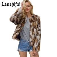 2017 neue Winter Frauen Faux Pelzmantel Weibliche Braun Langarm Vintage Pelz Einfache mode camouflage Jacke Dame OL Arbeitsmantel 3XL
