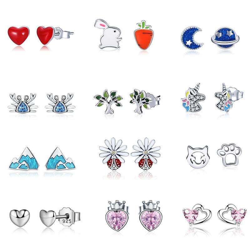 VOROCO Stud-Earrings 925-Jewelry 925-Sterling-Silver Heart Flower Moon Love-Star Women