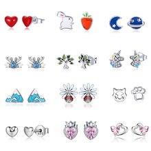 VOROCO Real 925 Sterling Silver Stud Earrings Red Heart Love Star Moon Flower Jewelry Wedding For Women