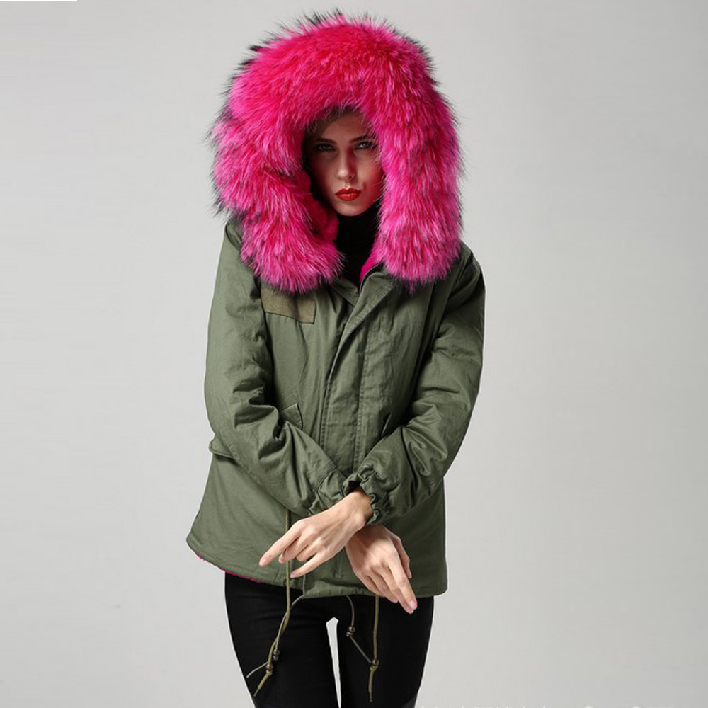 Women Winter Parka Army Green Thicken Coat Color Large Real Raccoon Fur Collar Fashion Hooded Short Jacket Outwear Plus Size 2XL new 2017 jott jacket winter women parka long coat large real raccoon fur collar faux rabbit fur liner army green casual outwear