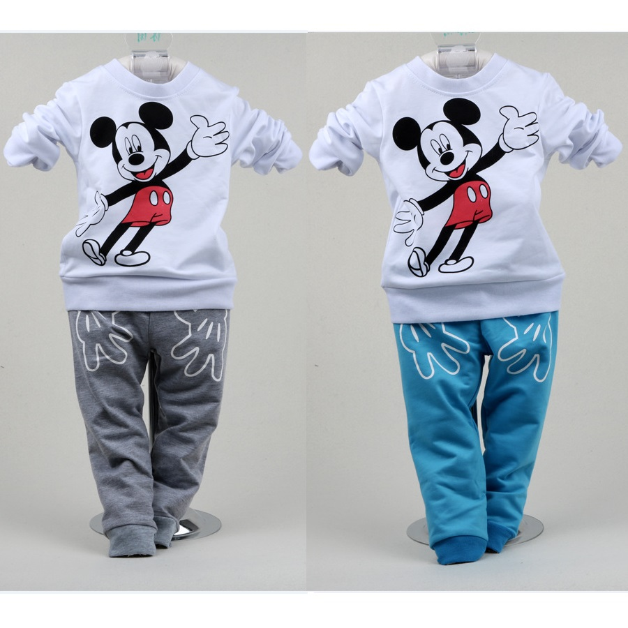 Mickey Mouse Baby Clothes Suit Fashion Boys Sport Suit Children Sweater+Pant 2-Pieces Set Kid T-Shirt Girls Suit Jersey Cotton brand fashion kids summer slim top mickey kid t shirt minnie mouse boys clothes shirts cotton short sleeve tee shirt