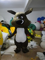 Black Dog Mascot Costume With Black Suit Small White Eyes Adult Size Cartoon Character Party Suit