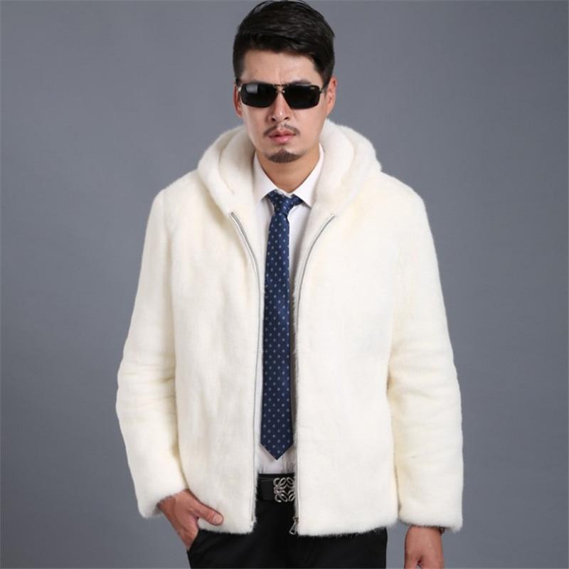 White Fur Coat Men Thick Warm Autumn Winter Faux Mink Fur Jacket Plus Size 4XL 5XL 6XL Hooded Zipper Imitation Fur Coat Ds50773
