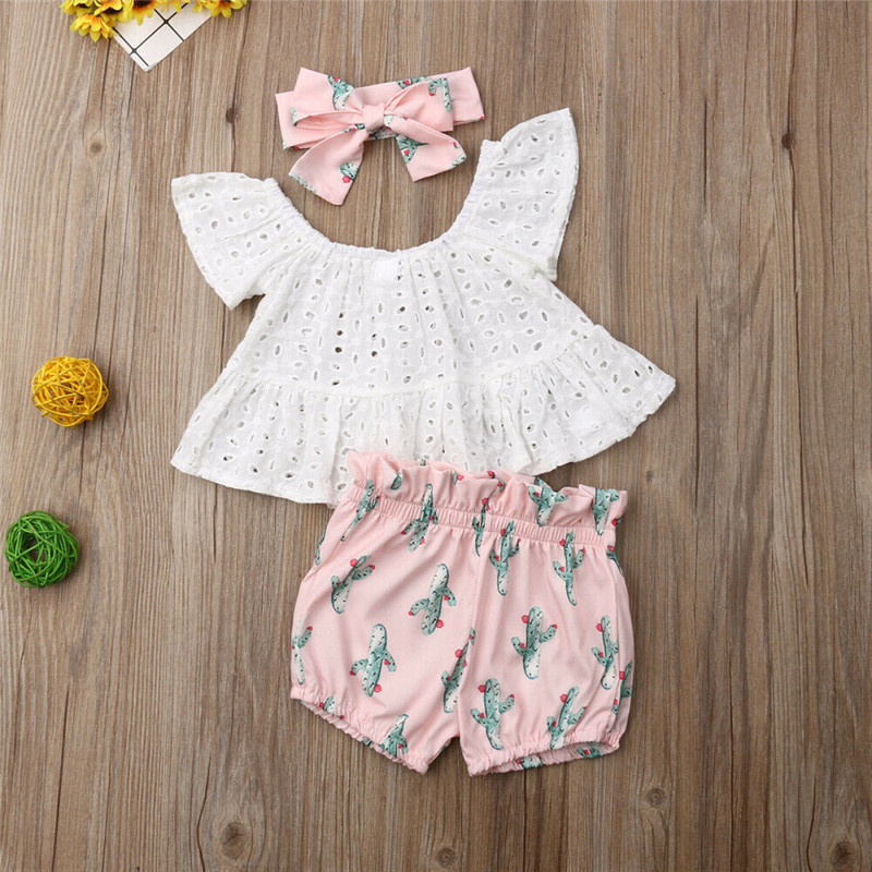 US Summer Toddler Baby Girl Clothes Lace Tops Cactus Shorts Headband Outfits Set