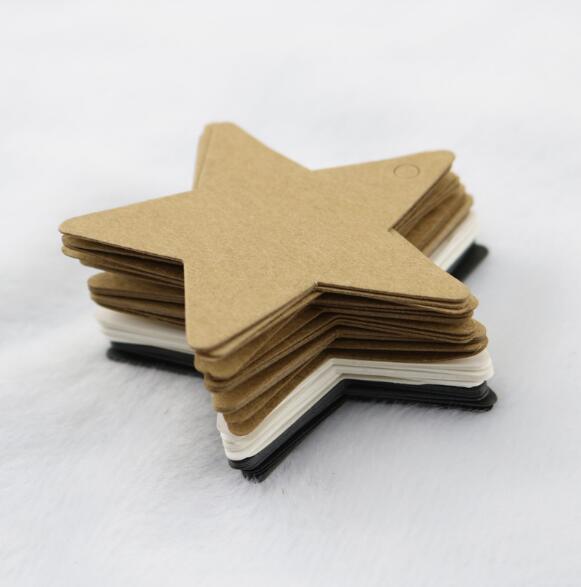 Étiquette étoile à cinq points en papier Kraft, étiquette vierge de cuisson, carte logo de produit, décoration darbre de noël créative LYQ, 100 pièces/lot