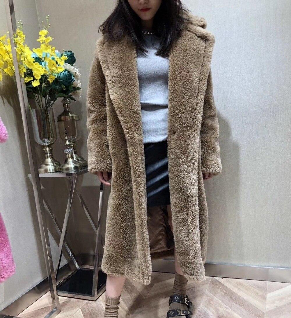 100 Alpaca Real Fur Coat Women Winter Suit Collar Long Nature Teddy Bear Fur Coats Overcoat