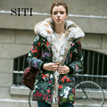 Women Winter Parkas 2016 Medium Long Duck Down Hooded Jacket Rabbit Fur Collar Thickening Female Camouflage Plus Size Over Coat