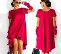 2016 новый женский Летнее платье нерегулярные шею короткие длинные резервное Платья Sukienka Saia Оптовая
