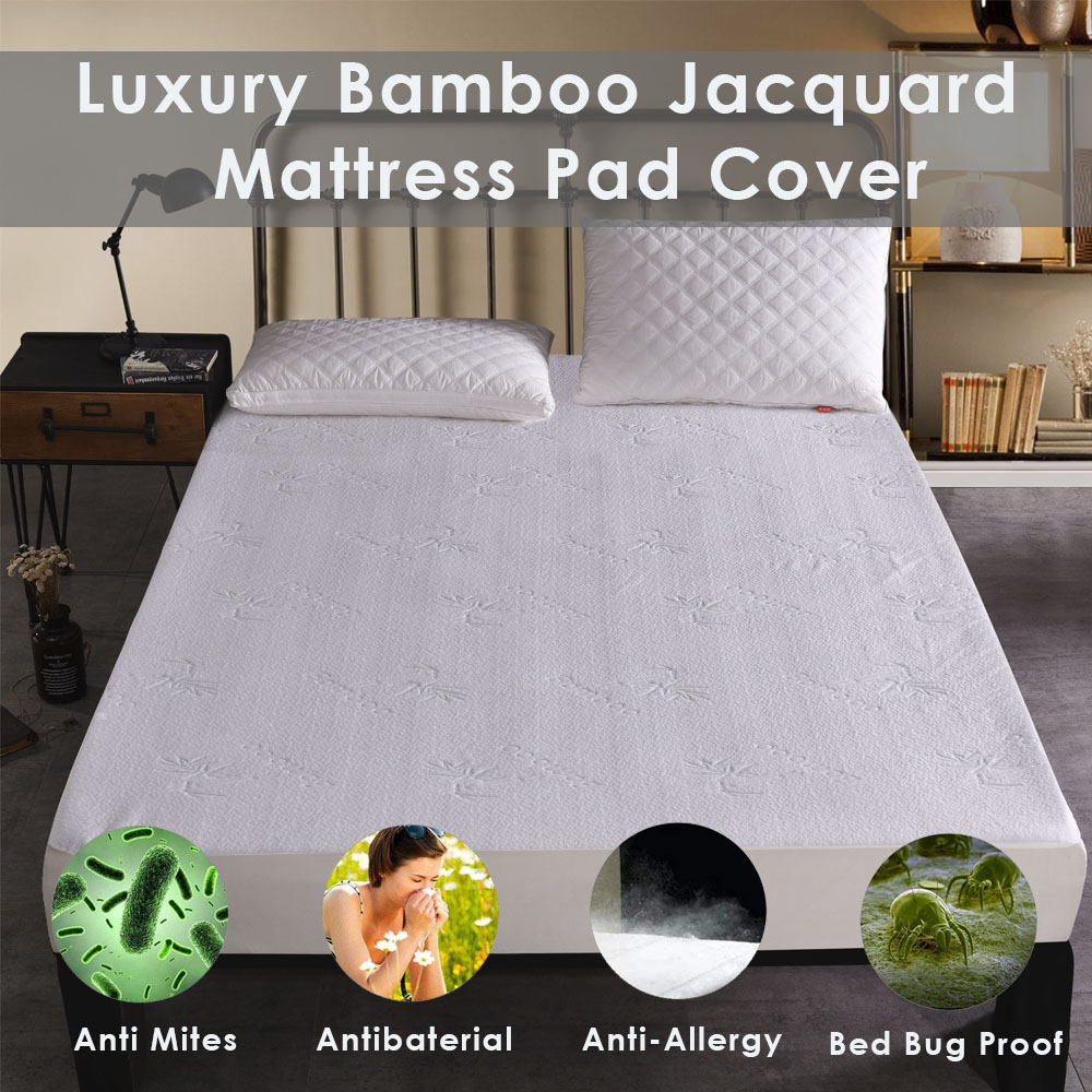 LFH Bamboo Jacquard Waterproof Mattress Pad Cover Deep Pocket Mattress Cover For Bed Mattress Protector Matelas Anti Mites image