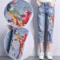 Mujeres Floral Bordado Denim Ripped Jeans Delgado Ocasional Flojo Más El tamaño de Los Pantalones Vaqueros de Moda Las Mujeres BF Denim Pantalones