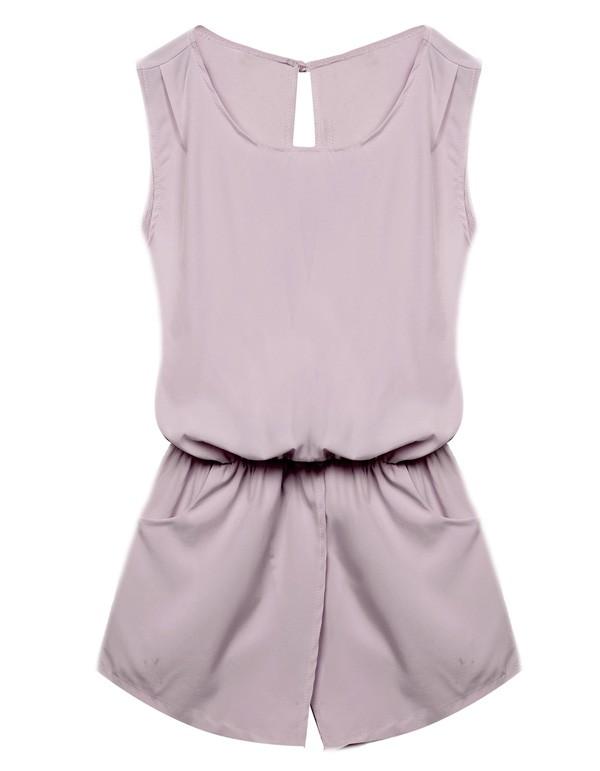 Sleeveless Solid Elastic Waist Backless Jumpsuit