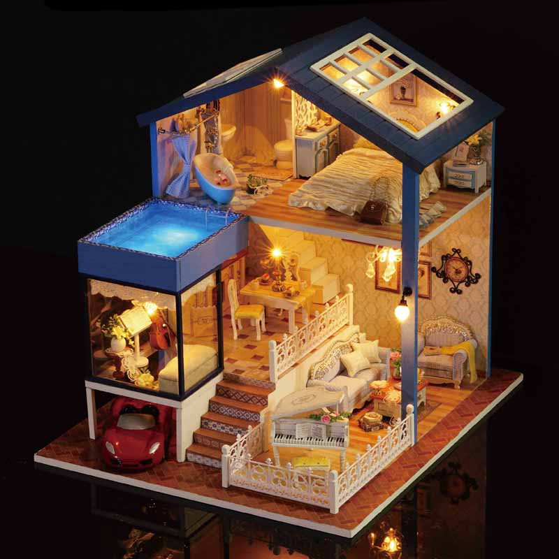 Elagant DIY Miniature Model Dollhouse With Furniture LED 3D Wooden House Handmade Toys Birthday Gifts For Kids A061 #D