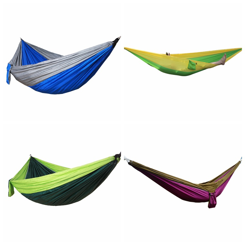 Portable Hammock Outdoor Double Parachute Cloth 2 Person Hamaca Hamak Rede Garden Hanging Chair Sleeping Travel Swing Hamac New