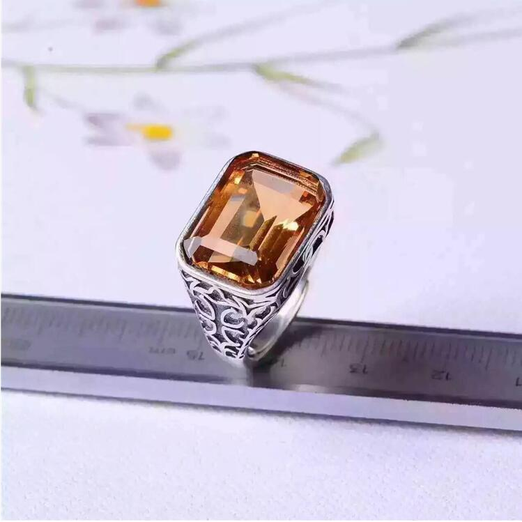 Free shipping Natural Cirtine Ring 925 sterling silver Wholesales Fine jewelry Natural Citrine Man Ring цена