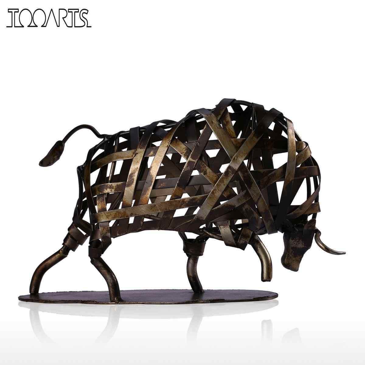 Tooarts Metal Animal Figurine Iron Braided Cattle Vintage Home Decor Handmade Animal Crafts Accessories Gift Bull Sculpture