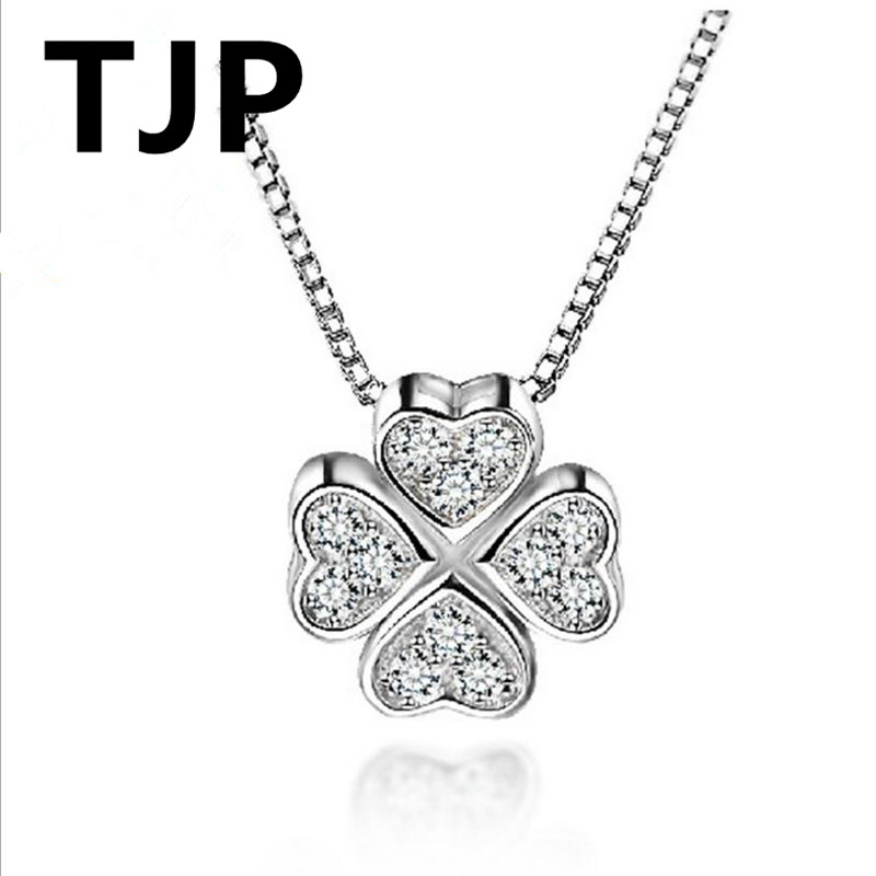 Tjp Lovely Clover Crystal Female Choker Neacklace Jewelry Fashion 925 Sterling Silver Pendants