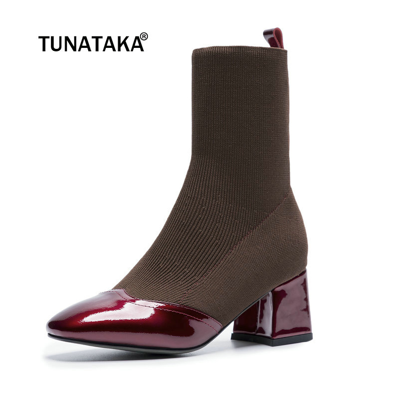 Ladies Genuine Leather Comfort Low Heel Ankle Boots Fashion Square Toe Knitting Fall Winter Bootie Black Beige Brown цена