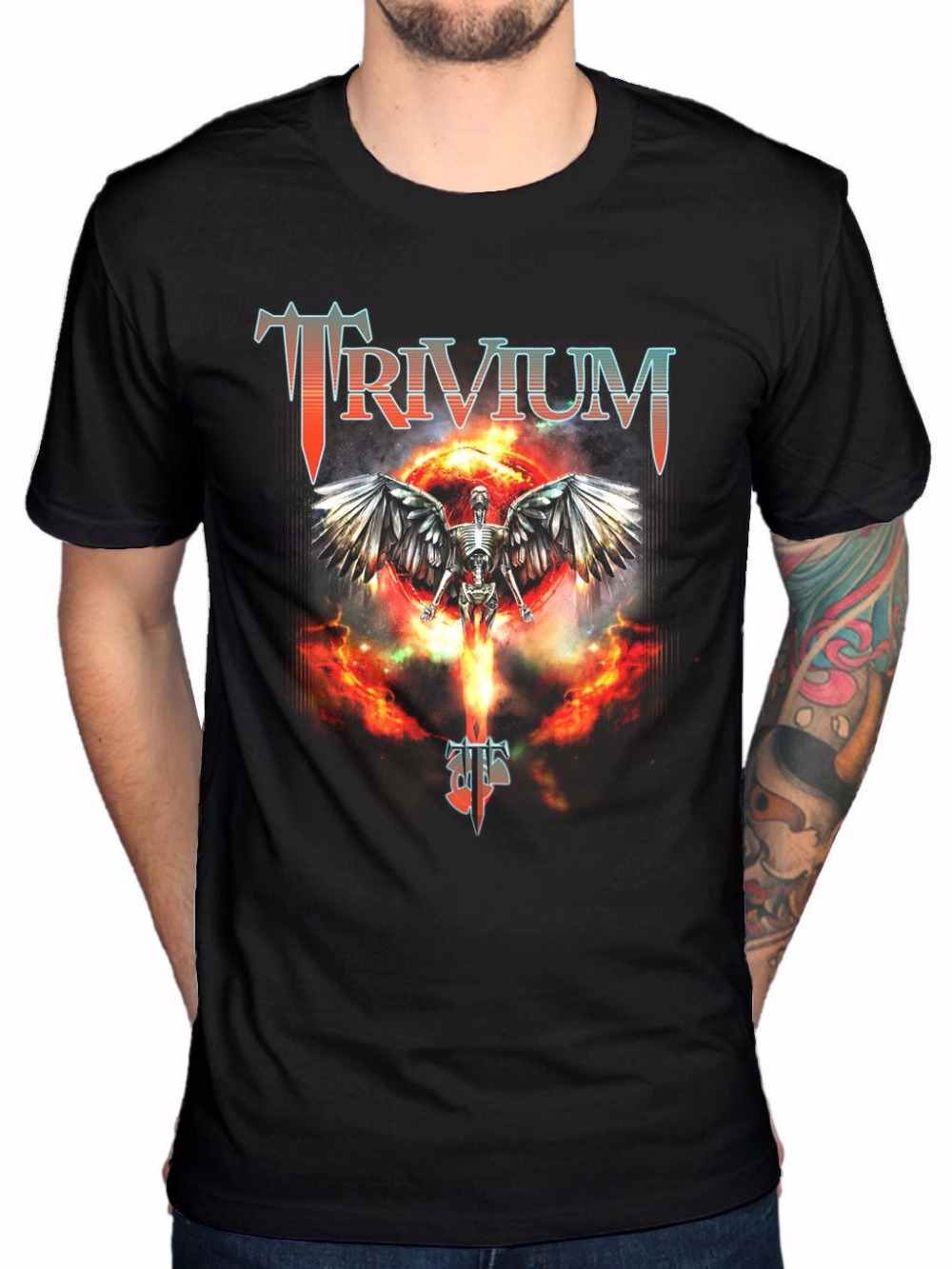 Buy T Shirt Designs Crew Neck Trivium Watching The World Burn Print Short Sleeve Men Cotton T-Shirt Short Graphic Tees For Men