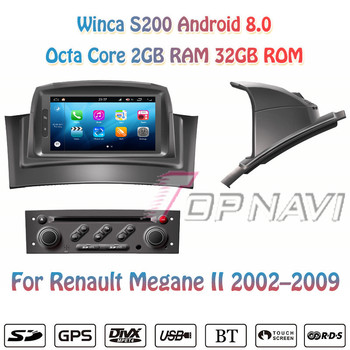 Topnavi Octa Core S200 Android 8.0 Car DVD Multimedia Player Video for Megane II Autoradio GPS Navigation Audio Stereo image