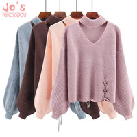 Women Sweaters And Pullovers Choker Collar Lace Up Bow Sueter Mujer Tops Winter Jumper Hollow Pink White Lantern Sleeve