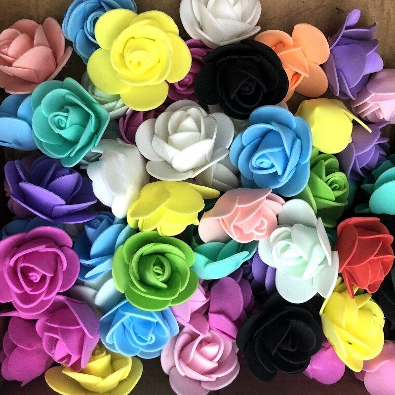 500 pieces flowers bear Artificial foam flower Little bear accessories roses head wedding celebration use for rose bear 3 5 cm in Artificial Plants from Home Garden
