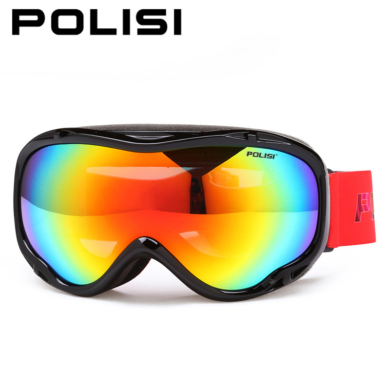 POLISI Winter Snowboard Snow Glasses Double Layer Anti-Fog Lens Polarized Ski Goggles Men Women Outdoor Snowmobile Skate Eyewear chic handpainted flower pattern mesh shape tassel voile scarf for women