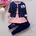 3pcs Cute Girls Cotton Long Sleeve Tops / Polka Dot Printed Coat / Trousers