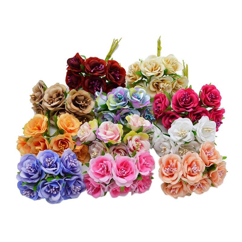 Шт. 6 шт. шелк градиент тычинки ручной искусственные цветы букет Свадебная вечеринка украшения дома DIY поддельные венок Скрапбукинг Craft