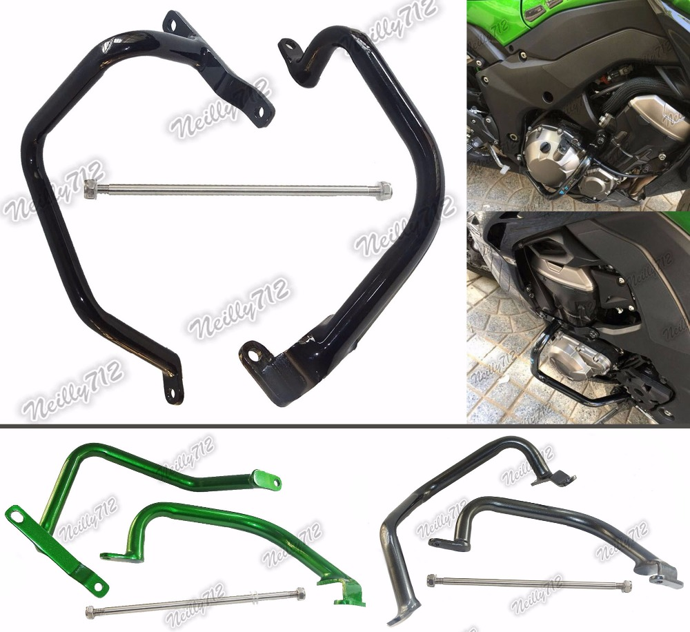 Motorcycle Engine Bumper Guard Crash Bars Protector Steel For 2010 2011 2012 2013 2014 2015 2016 KAWASAKI Z1000 ZRT00D ZRT00F motorcycle radiator grille grill guard cover protector golden for kawasaki zx6r 2009 2010 2011 2012 2013 2014 2015
