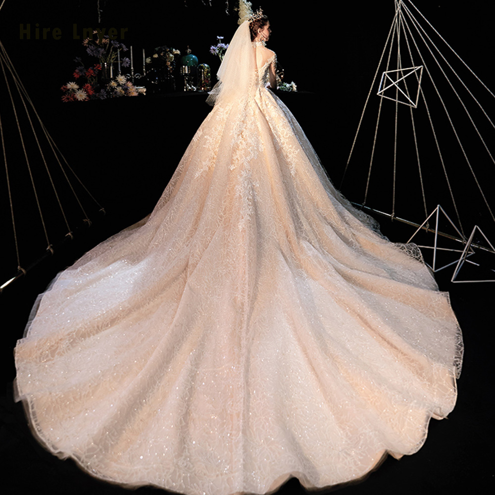 Image 3 - Robe De Mariee Princesse De Luxe 2020 High Neck Full Sleeve Beading Pearls Appliques Lace Luxury Ball Gown Wedding DressesWedding Dresses   -