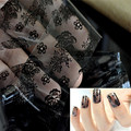 1pc 3D Black Lace Nail Art Templates Foil Stickers Flower Decals Tips Manicure Tool Gel Polish