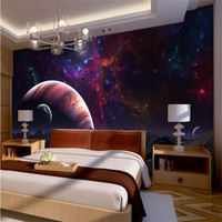 Photo Wallpaper Quality Flash Silver Fabric Top Surface Bedroom Bedside Fantasy Universe Stars Planets Large Mural