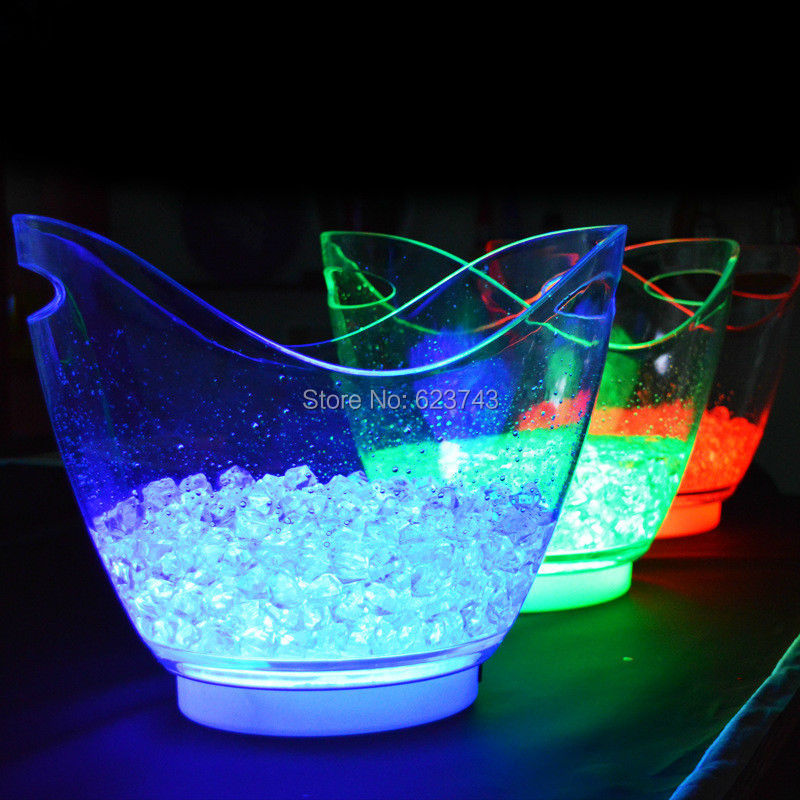 New product 1 piece single color rechargeable luminous 8L LED ICE Bucket champagne beer ice bucket for bars decoration in Novelty Lighting from Lights Lighting