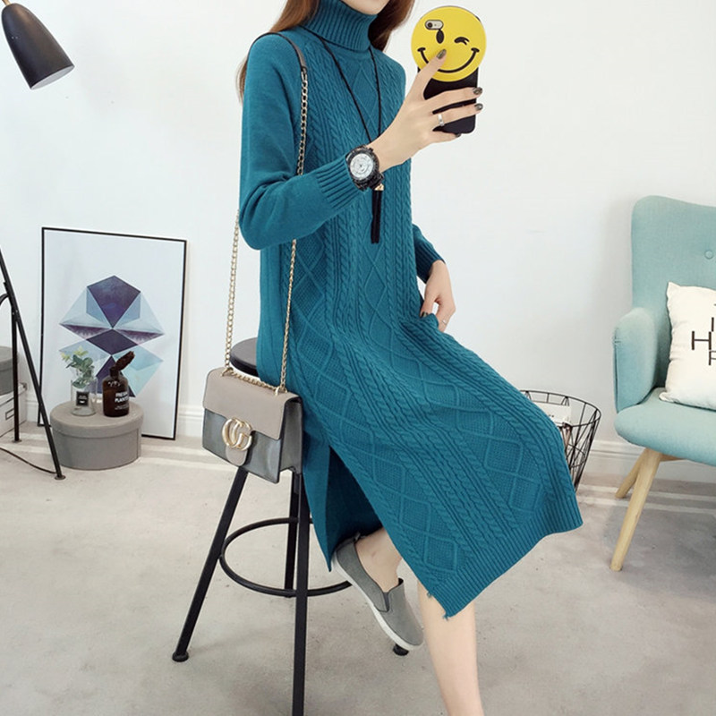 Turtleneck Sweater Dress 2018 Autumn Winter Brief High Neck Long Sleeve Stretch Bodycon Dress Knitted Sweater Dresses For Women