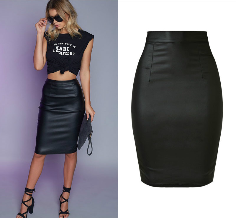 High Waist Push Up Black Skirts Women Elasticity Faux Leather Split Jupe Femme Coated Vintage Punk Saias Na Altura Do Joelho