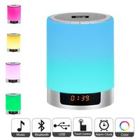 Night Lights Bluetooth Speaker Bedside Lamp Touch Control Alarm Clock Color LED Color Wireless Speaker With