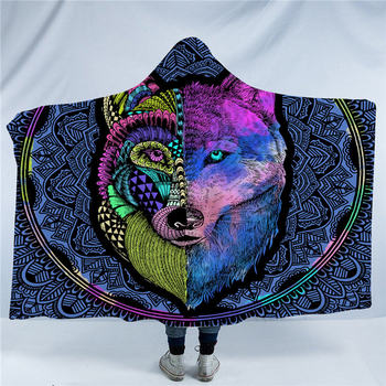 Wolf Tribal Animal Dreamcatcher Hooded Blanket 8