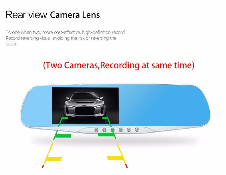 E-ACE Car Dvr Camera Led Lights Blue Rearview Mirror FHD 1080P Night Vision Video Recorder Dual Lens Auto Registrator Dash Cam 9