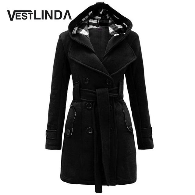 VESTLINDA Moda Mujeres Otoño Invierno Trench Coat Señoras Abrigo con Cinturón de Bolsillo de La Manera del Color Sólido de Invierno Abrigo Largo para Las Mujeres
