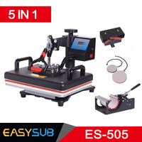 Cheap 30*38CM 5 in 1 Combo Heat Press machine Sublimation Printer printing for T shirts Plates/Cap/Mug/Phone Covers