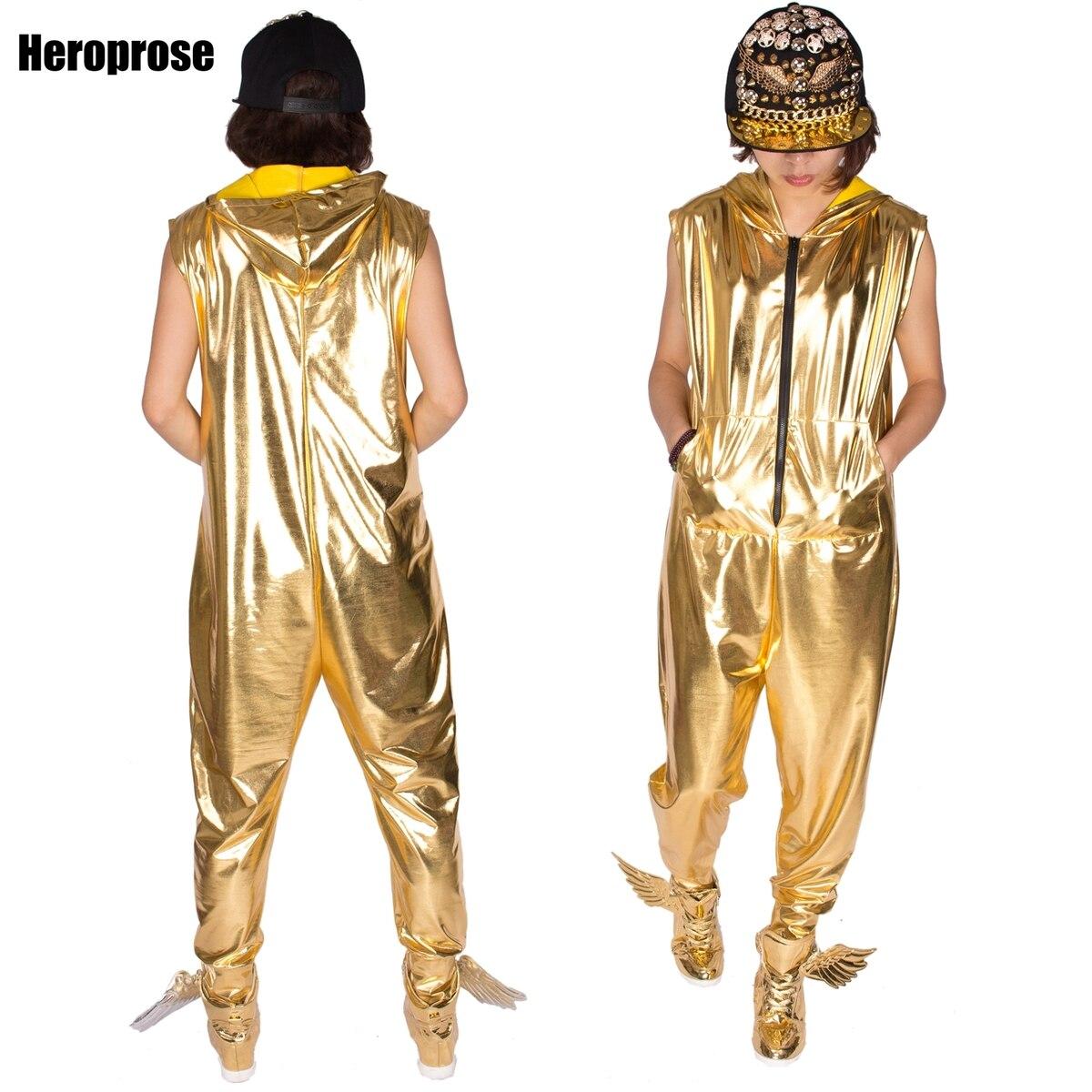 Nová módní hip hopová taneční představení s kostýmem evropské volné zlato světlé barvy jazzové kombinézy Camouflage one piece Pants