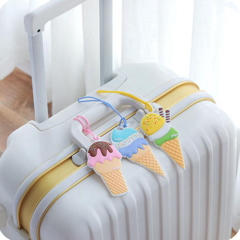 Travel Accessories Luggage Tag Cover Creative Ice Cream Silica Gel Suitcase ID Address Holder Baggage Boarding Tags Label
