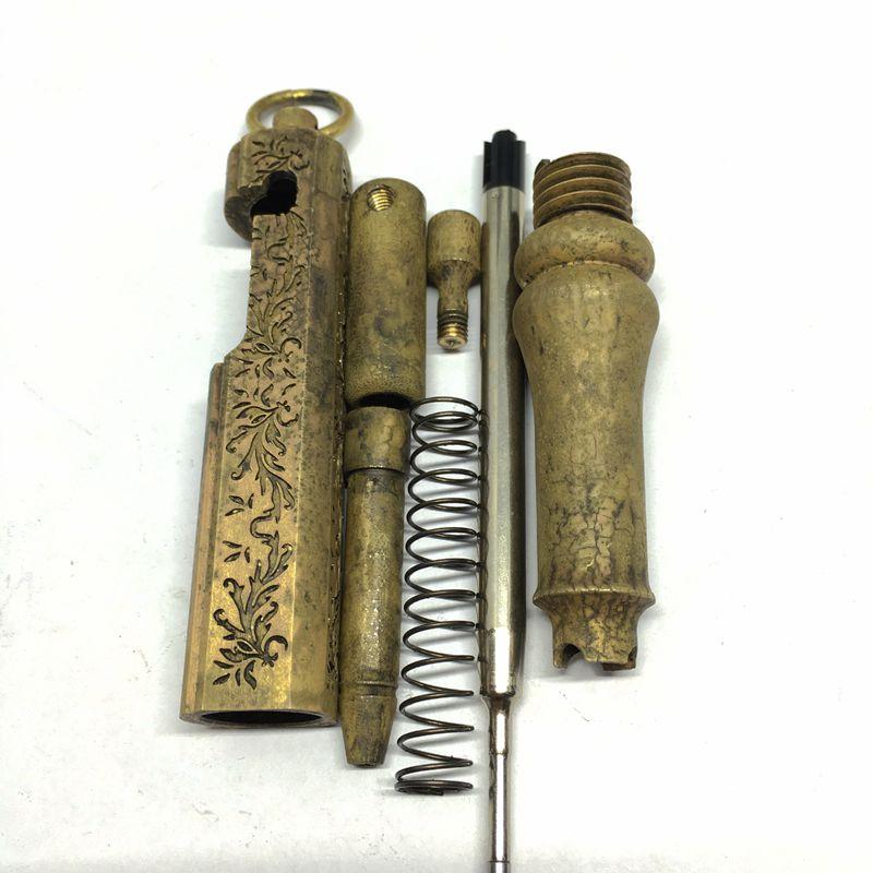 Deluxe Ottone Antico Gel Penna Incisione Fiori Pistola Penna - 5