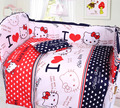 5Pcs /Sets Cotton Natural Dyeing Baby Bedding Sets  Cartoon Pattern Bumper Bed Sheets Anti Collision Crib Bedding Sets Christmas