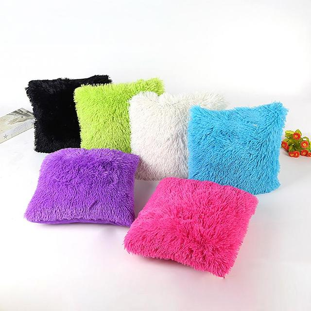 Soft Plush Shaggy Solid Color Throw Pillow Covers Cushion Case Extraordinary Shaggy Decorative Pillows
