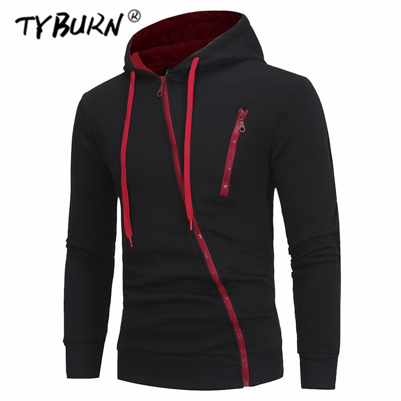 TYBURN Hoodies Men 2019 Autumn Casual Long Sleeve Hoodie Men Thin Sweatshirts Slim Zipper Hoody Sweatshirt Men Hooded Streetwear